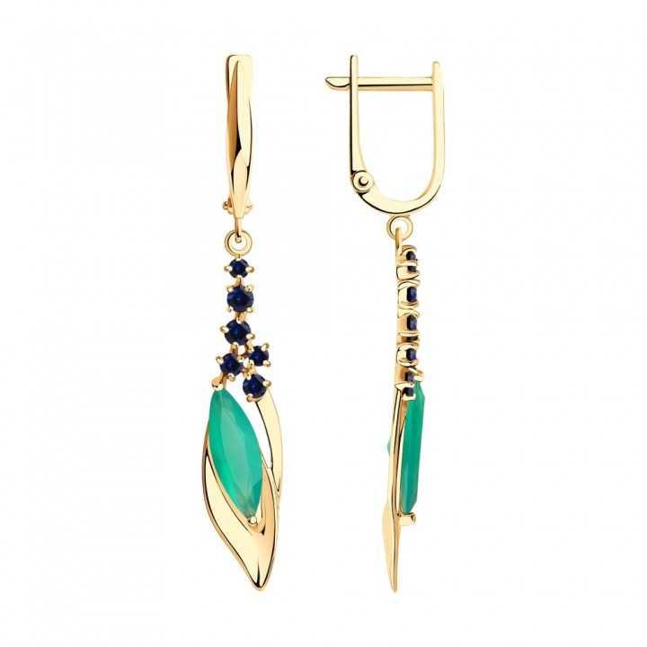 Auksiniai auskarai su korundais ir agatu - Auksiniai auskarai - Goldinga
