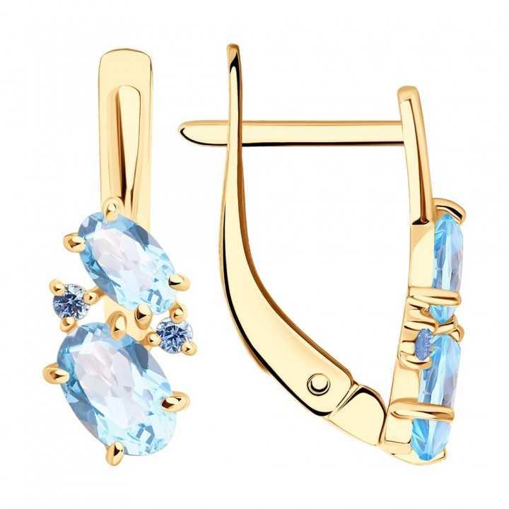 Auksiniai auskarai su topazais ir cirkoniais - Auksiniai auskarai - Goldinga