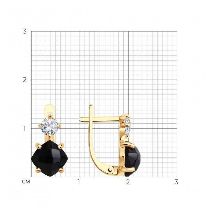 Auksiniai auskarai su juoduoju agatu ir cirkoniu - Auksiniai auskarai - Goldinga