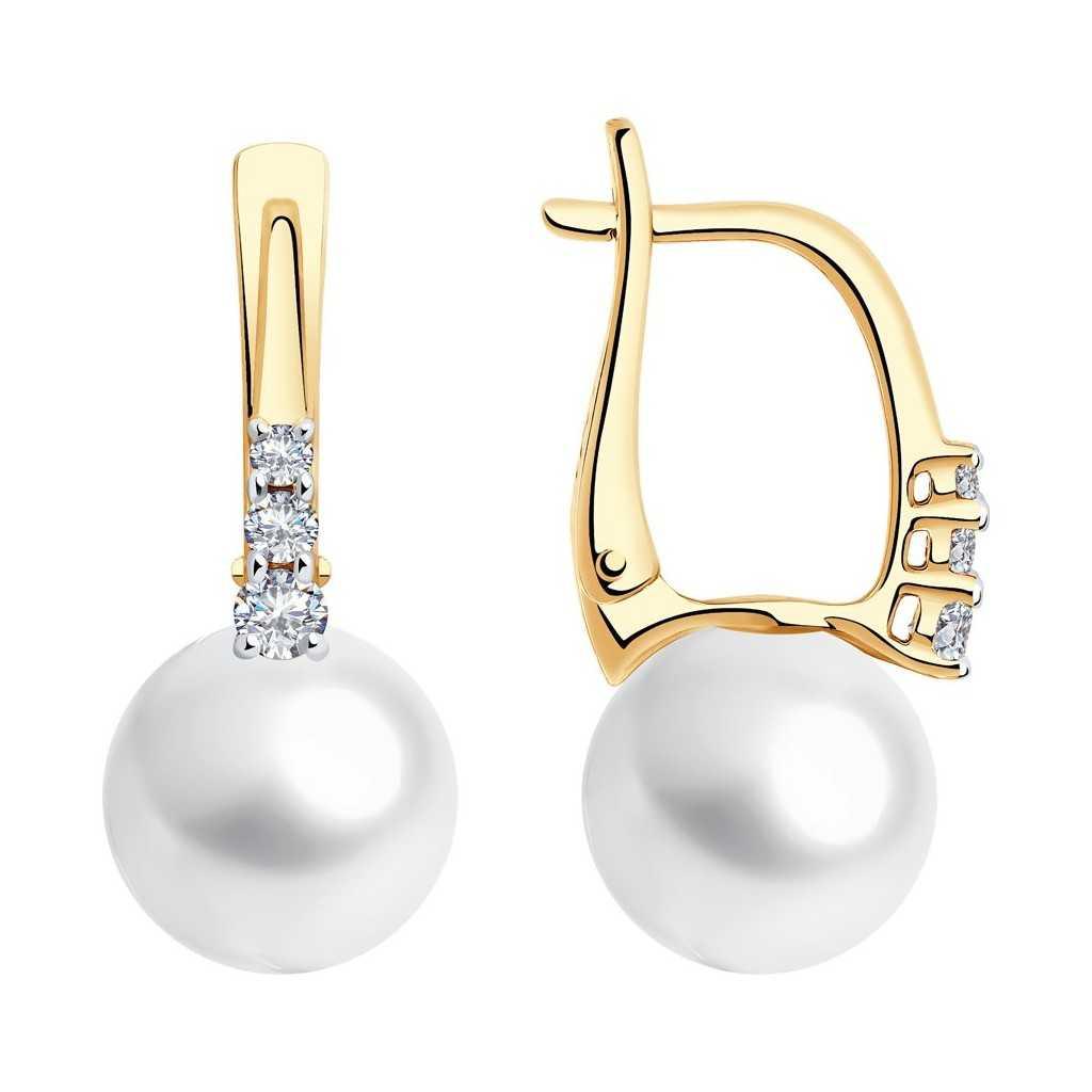 Auksiniai auskarai su perlu ir Swarovski kristalais - Auksiniai auskarai - Goldinga