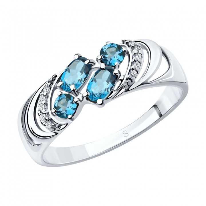 Sidabrinis žiedas su London topazais ir cirkoniais - Sidabriniai žiedai - Goldinga