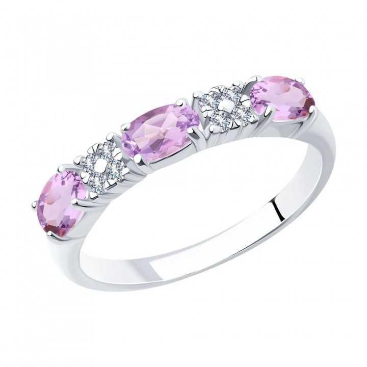 Sidabrinis žiedas su ametistais ir cirkoniais - Sidabriniai žiedai - Goldinga