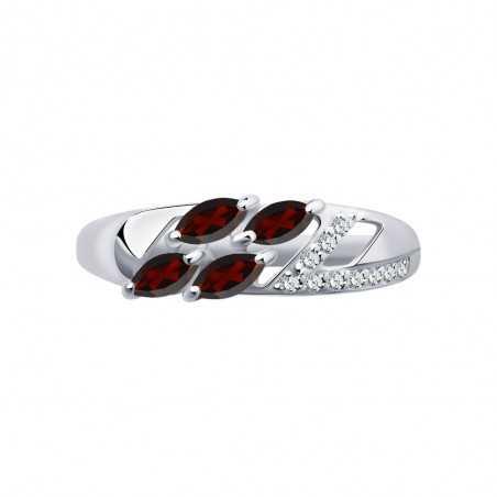 Sidabrinis žiedas su granatais ir cirkoniais - Sidabriniai žiedai - Goldinga
