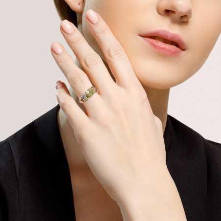Sidabrinis žiedas su Chrizolitais ir cirkoniais - Sidabriniai žiedai - Goldinga