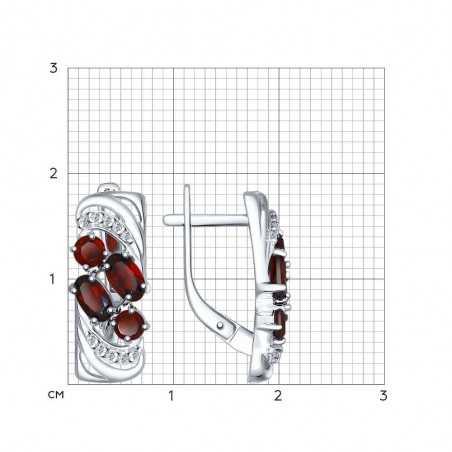 Sidabriniai auskarai su granatais ir cirkoniais - Sidabriniai auskarai - Goldinga