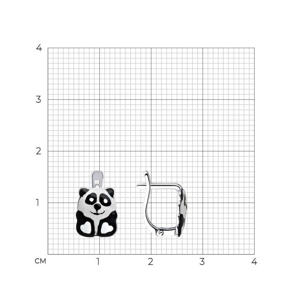 """Sidabriniai auskarai su emale """"Panda"""" - Sidabriniai auskarai - Goldinga"""