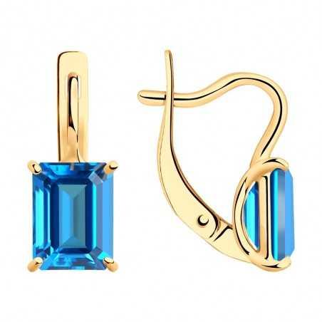 Auksiniai auskarai su Swarovski topazu - Auksiniai auskarai - Goldinga
