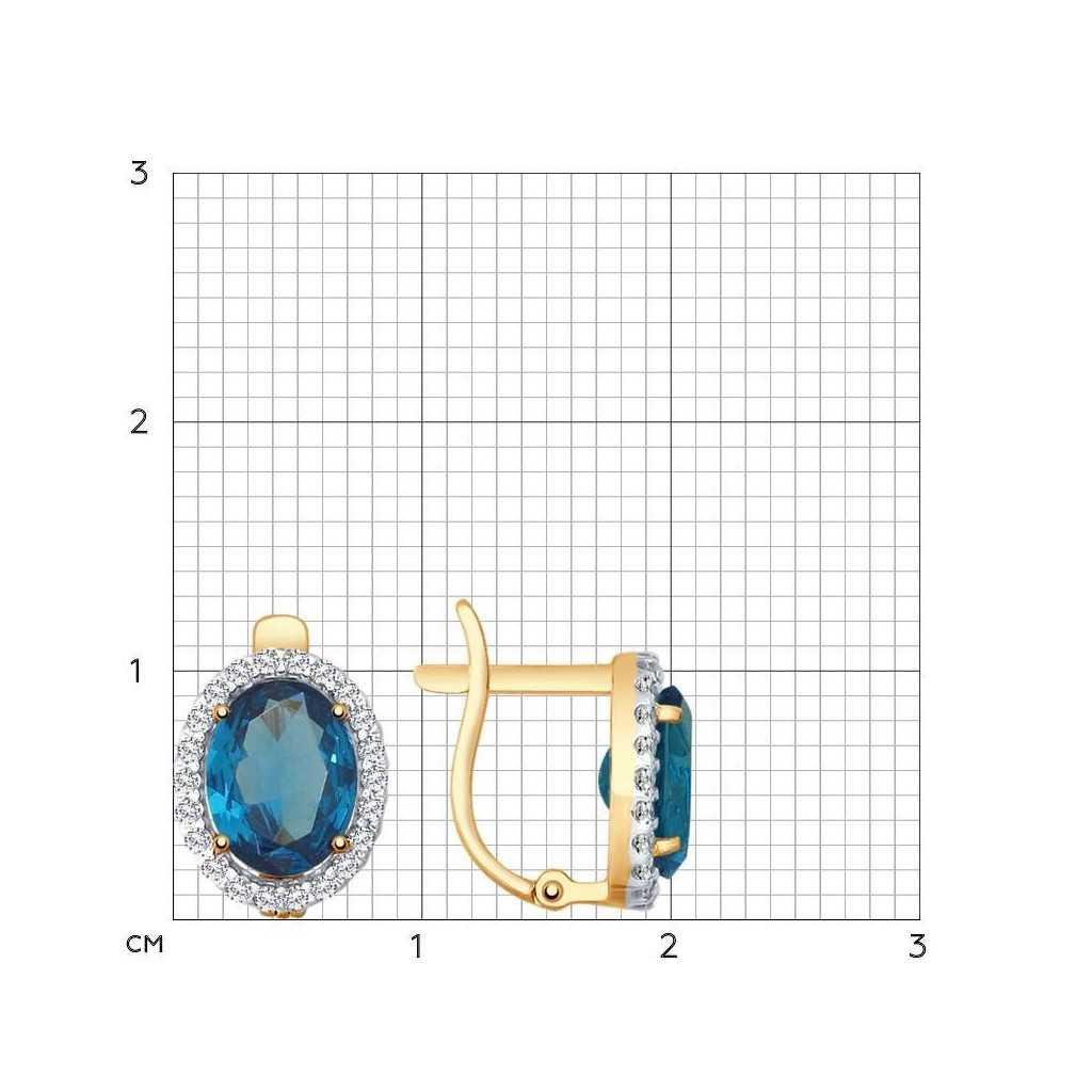 Auksiniai auskarai su topazu ir cirkoniais - Auksiniai auskarai - Goldinga