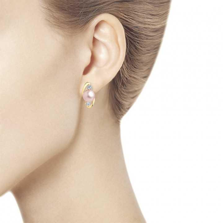 Auksiniai auskarai su perlu ir cirkoniais - Auksiniai auskarai - Goldinga