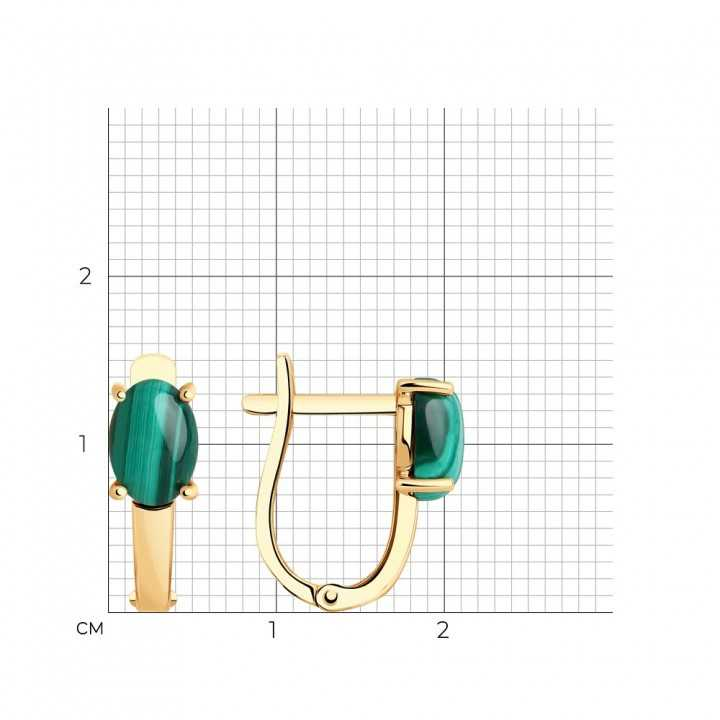 Auksiniai auskarai su malachitu - Auksiniai auskarai - Goldinga