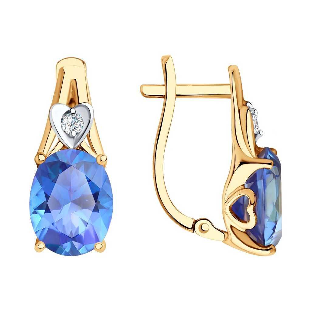 Auksiniai auskarai su Swarovski topazu ir cirkoniu - Auksiniai auskarai - Goldinga