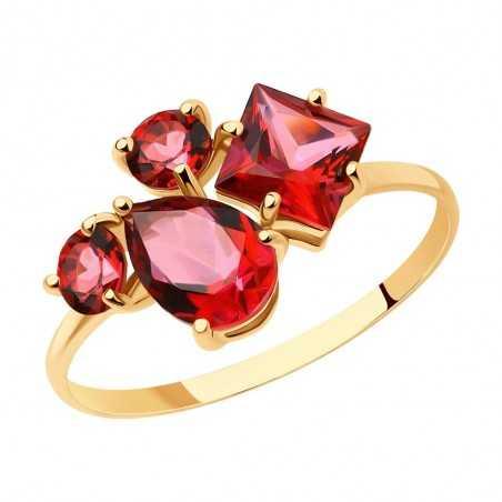 Auksinis žiedas su Swarovski topazais - Auksiniai žiedai - Goldinga