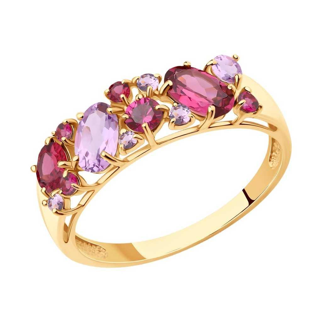 Auksinis žiedas su ametistais - Auksiniai žiedai - Goldinga