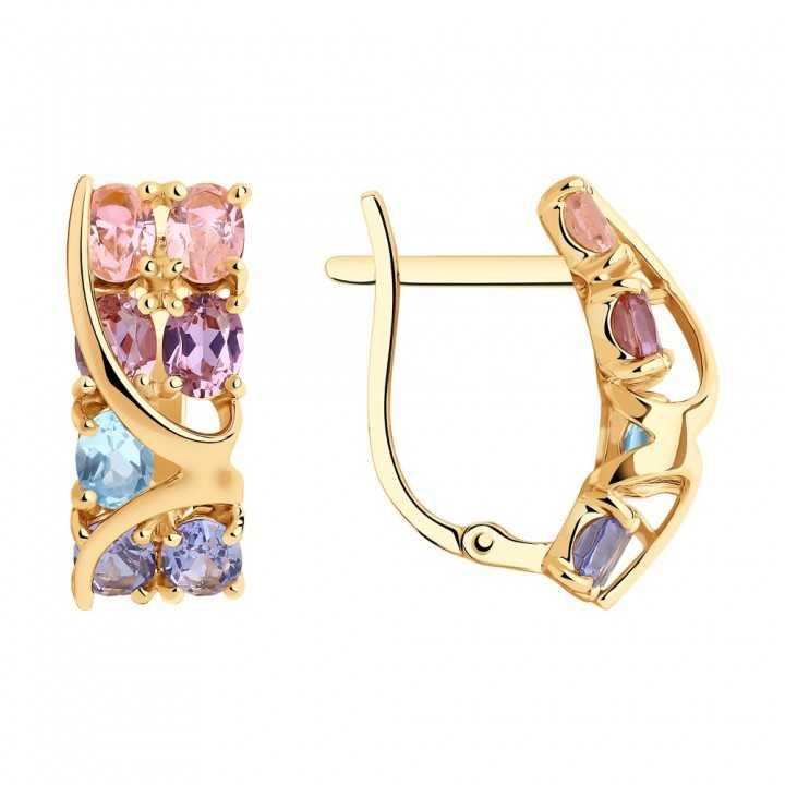 Auksiniai auskarai su topazais ir sitalais - Auksiniai auskarai - Goldinga