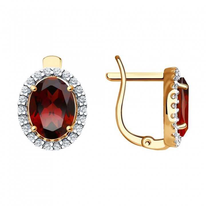 Auksiniai auskarai su granatu ir cirkoniais - Auksiniai auskarai - Goldinga