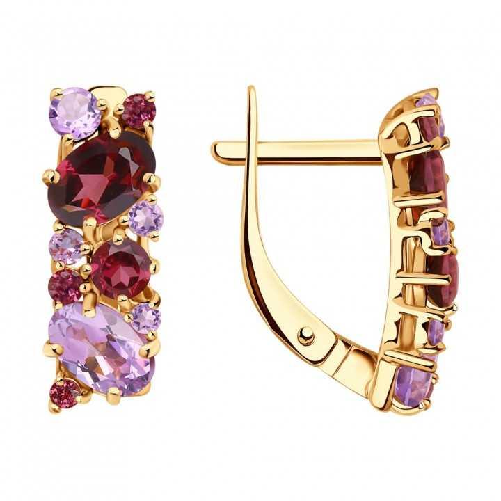 Auksiniai auskarai su ametistais - Auksiniai auskarai - Goldinga