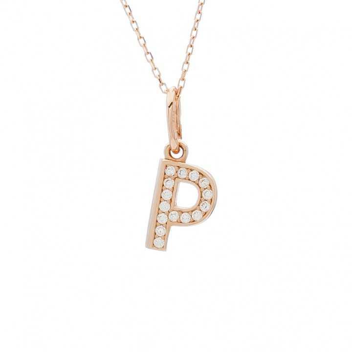 """Auksinis pakabukas su cirkoniais raidė """"P"""" - Auksiniai pakabukai - Goldinga"""