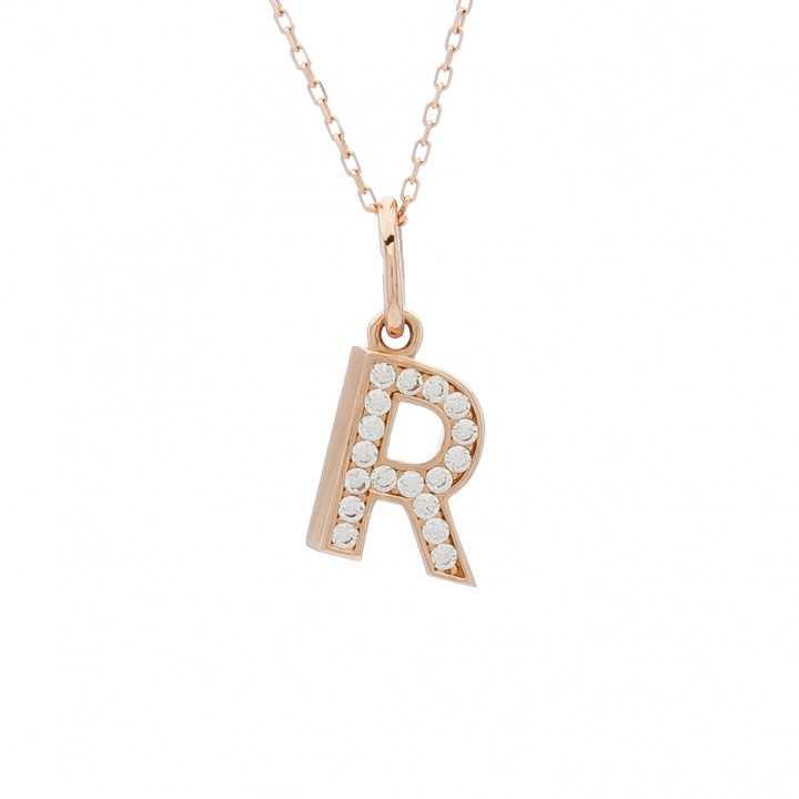 """Auksinis pakabukas su cirkoniais raidė """"R"""" - Auksiniai pakabukai - Goldinga"""