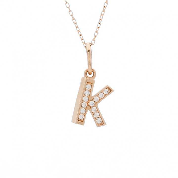 """Auksinis pakabukas su cirkoniais raidė """"K"""" - Auksiniai pakabukai - Goldinga"""