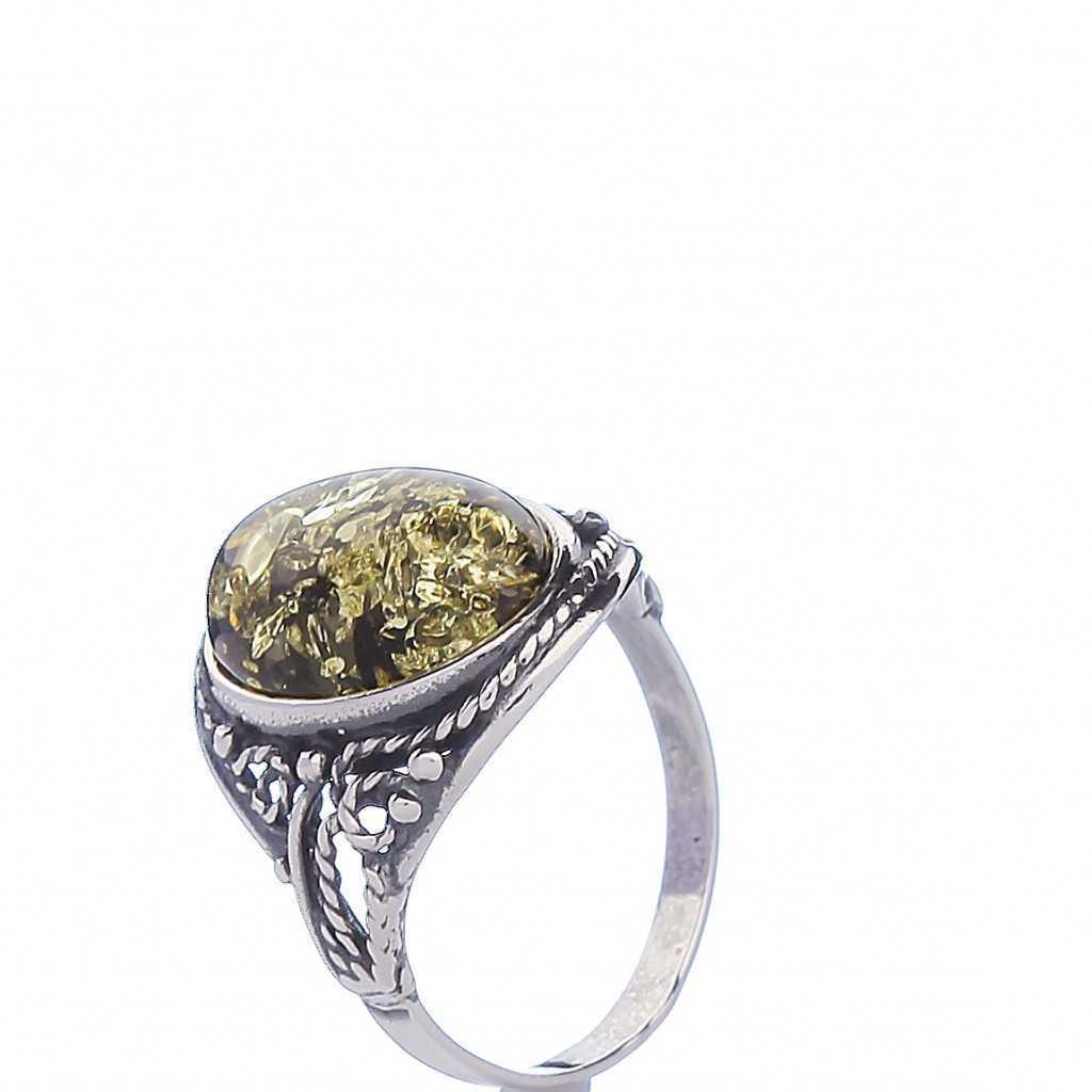 Sidabrinis žiedas su gintaru - Sidabriniai žiedai - Goldinga