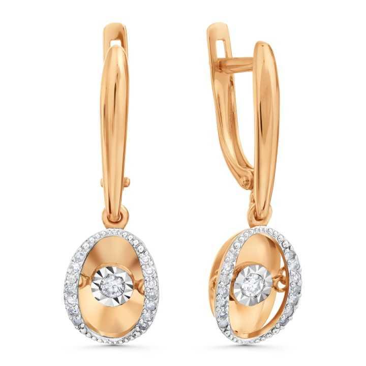 Auksiniai auskarai su deimantais - Auskarai su brangakmeniais - Goldinga