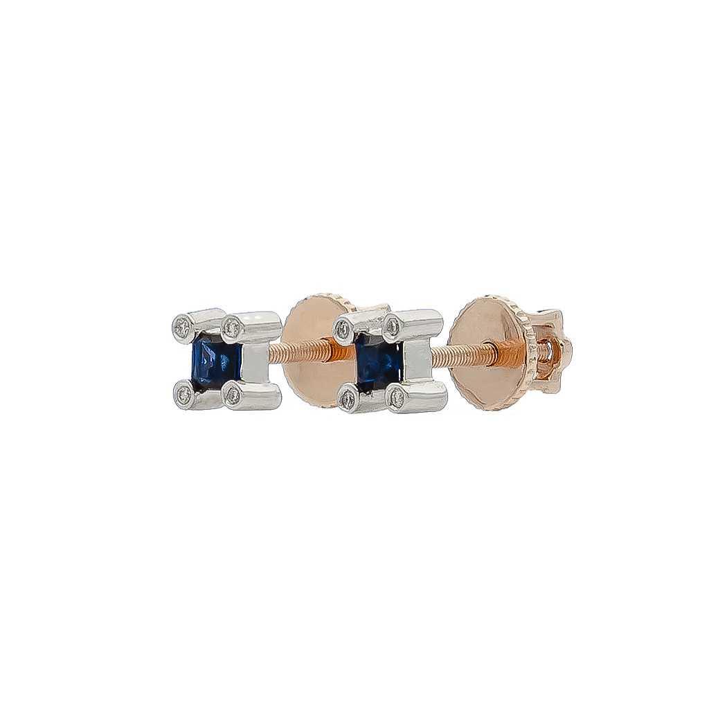 Auksiniai auskarai su safyru ir briliantais - Auskarai su brangakmeniais - Goldinga