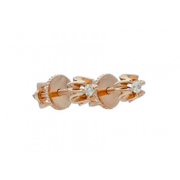 Auksiniai auskarai su briliantu - Auskarai su brangakmeniais - Goldinga