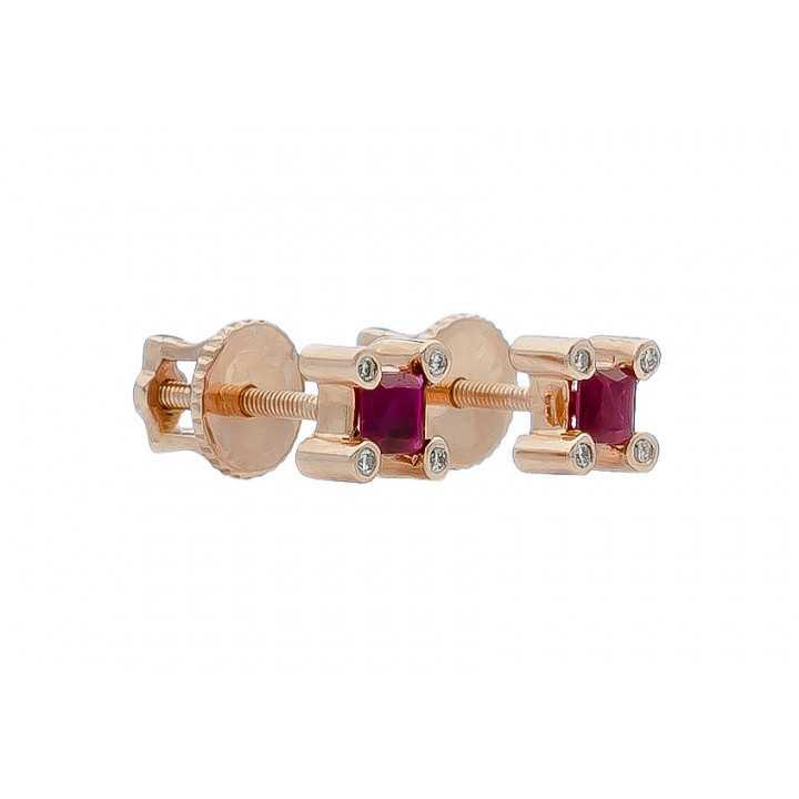 Auksiniai auskarai su rubinu ir briliantais - Auskarai su brangakmeniais - Goldinga