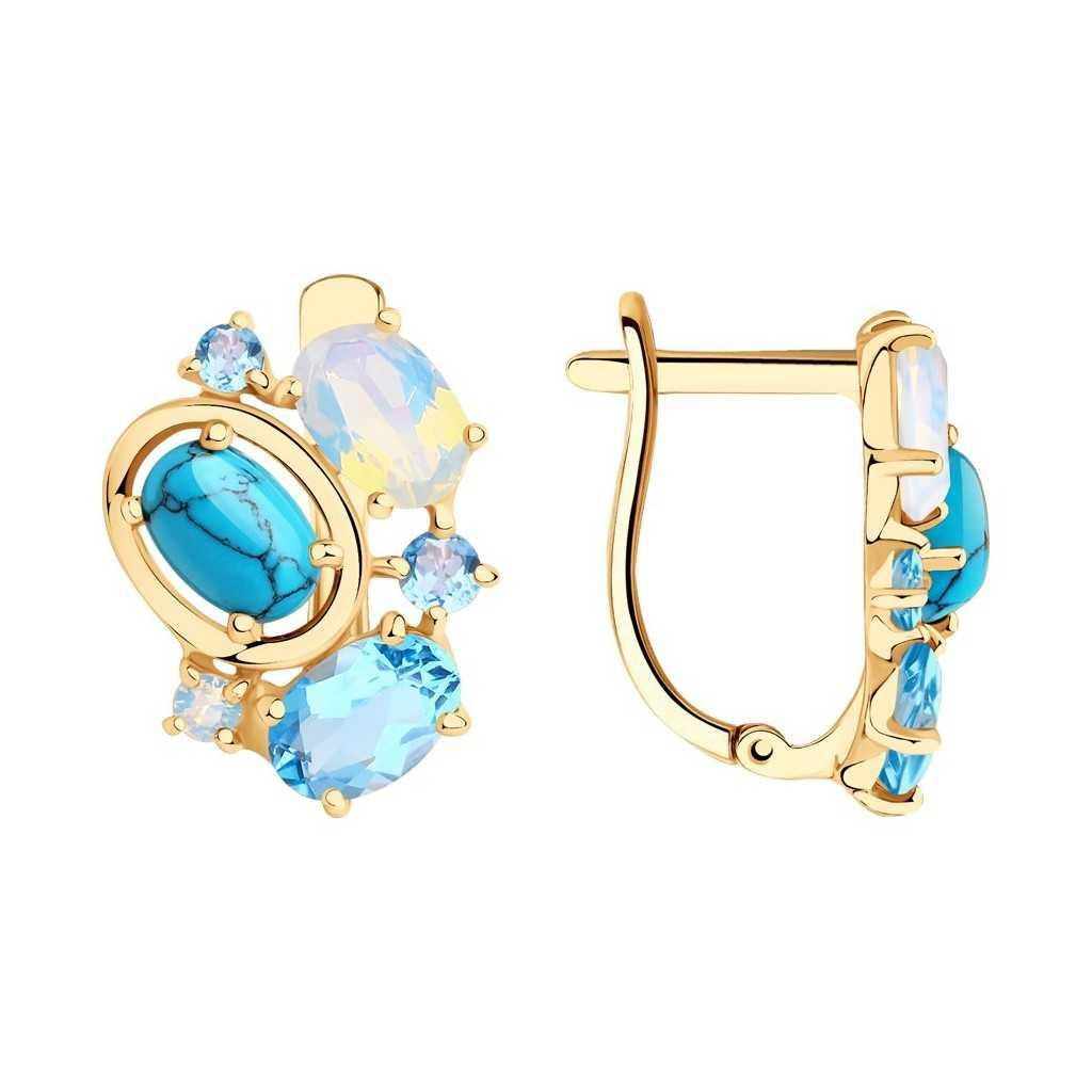 Auksiniai auskarai su sitalais, sintetiniais turkiais, opalais ir topazais - Auksiniai auskarai - Goldinga