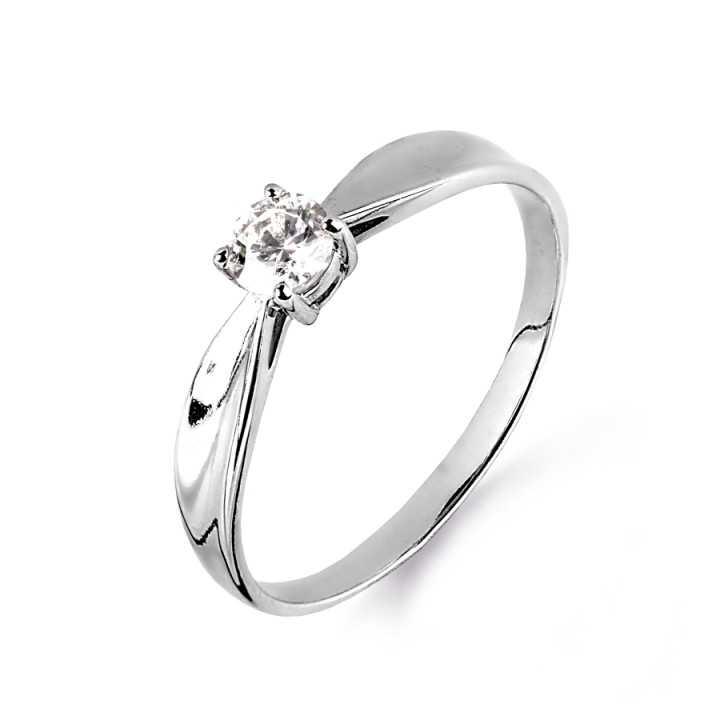 Balto aukso žiedas su Swarovski kristalais - Auksiniai žiedai - Goldinga