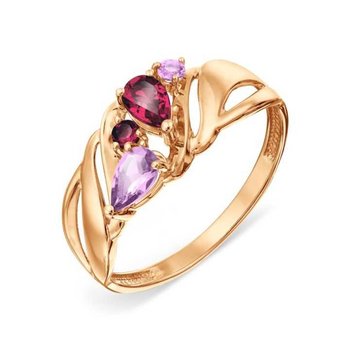 Auksinis žiedas su rodolitais ir ametistais - Auksiniai žiedai - Goldinga
