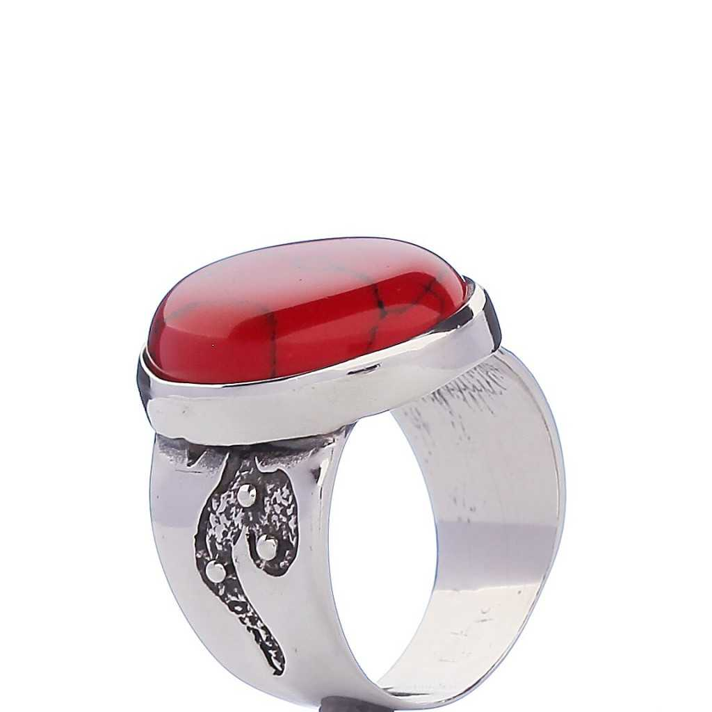 Sidabrinis žiedas su koralu - Sidabriniai žiedai - Goldinga