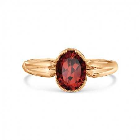 Auksinis žiedas su granatu - Auksiniai žiedai - Goldinga