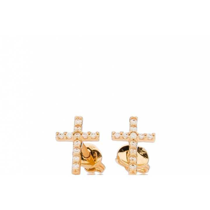 """Auksiniai auskarai su cirkoniu """"kryželis"""" - Auksiniai auskarai - Goldinga"""