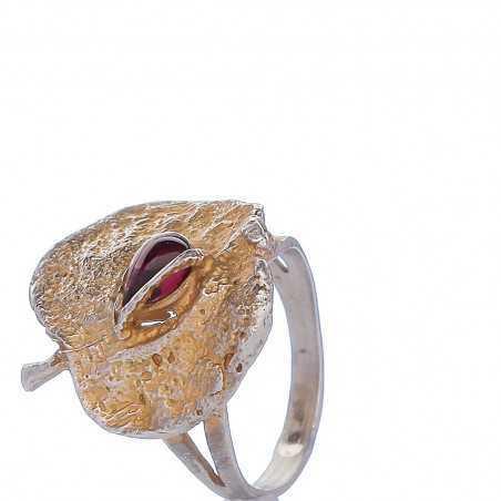 Sidabrinis žiedas su granatu - Sidabriniai žiedai - Goldinga
