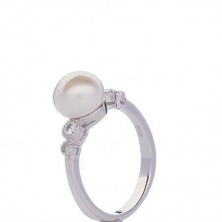 Sidabrinis žiedas perlu ir cirkoniais - Sidabriniai žiedai - Goldinga