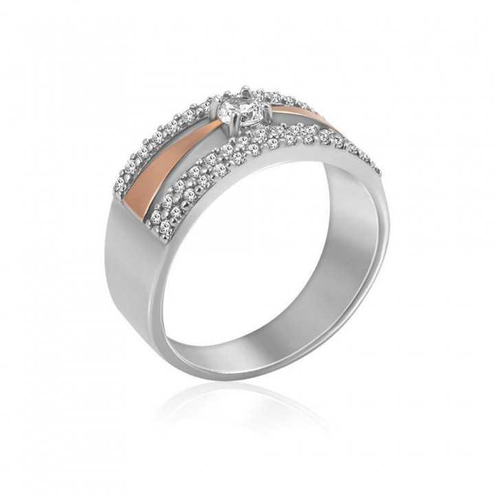 Sidabrinis žiedas su cirkoniais dengtas auksu - Sidabriniai žiedai - Goldinga