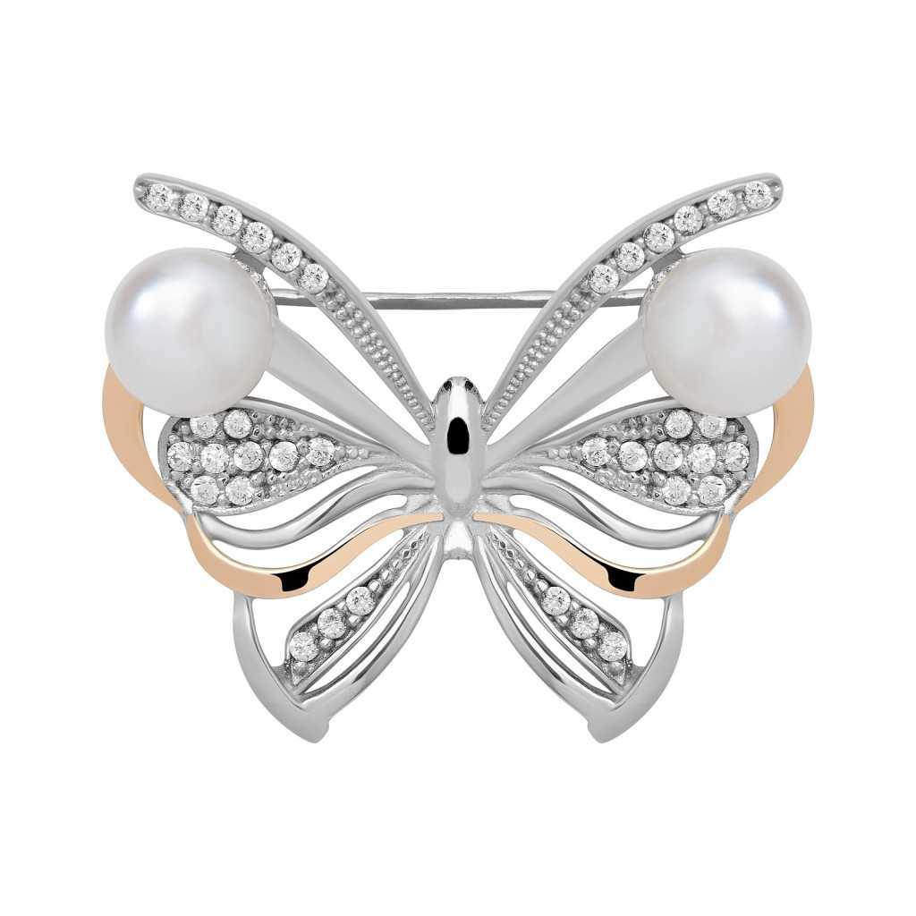 Sidabrinė sagė su perlais ir cirkoniais dengta auksu - Sagės - Goldinga