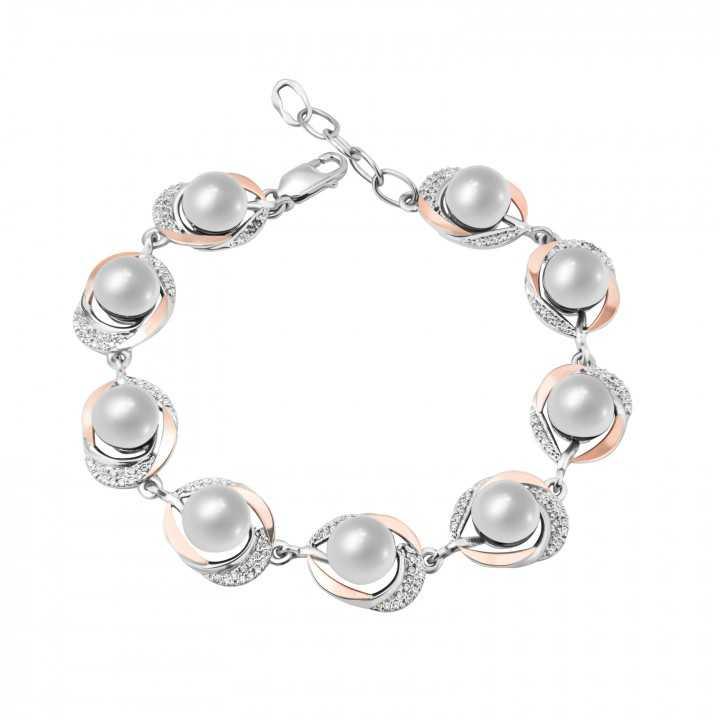 Sidabrinė apyrankė su perlais dengta auksu - Sidabrinės apyrankės - Goldinga