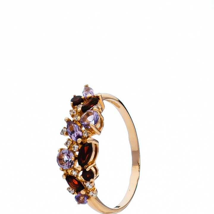 Auksinis žiedas su granatais, ametistais ir cirkoniais - Auksiniai žiedai - Goldinga