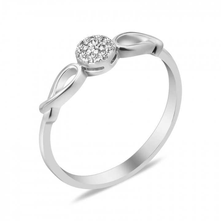 Sidabrinis žiedas su briliantais - Žiedai su brangakmeniais - Goldinga