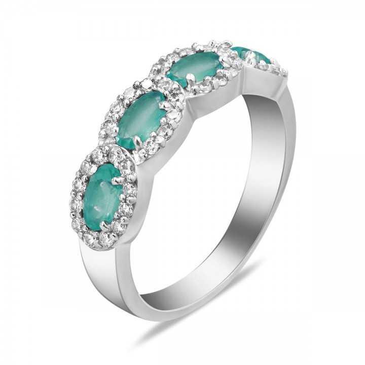 Sidabrinis žiedas su smaragdais - Žiedai su brangakmeniais - Goldinga