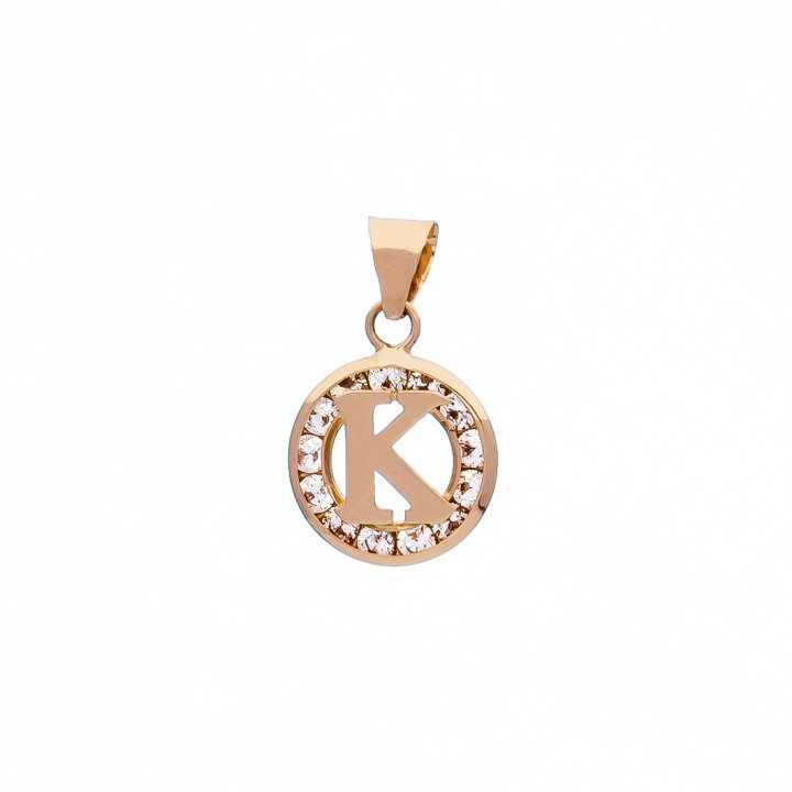Auksinis pakabukas su cirkoniais raidė K - Auksiniai pakabukai - Goldinga