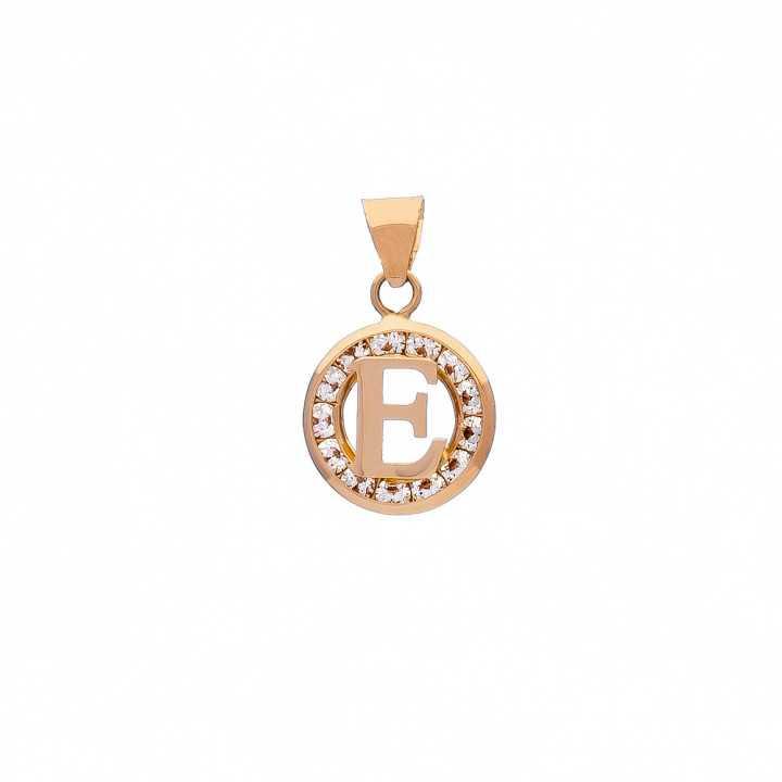 Auksinis pakabukas su cirkoniais raidė E - Auksiniai pakabukai - Goldinga