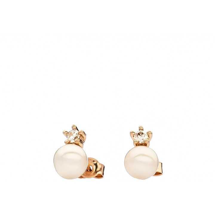 Auksiniai auskarai su perlu ir cirkoniu - Auksiniai auskarai - Goldinga