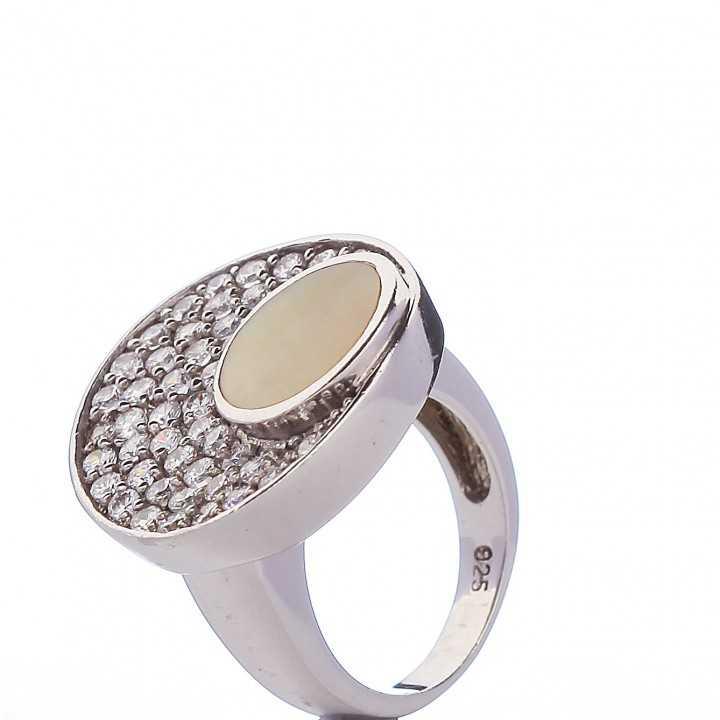 Sidabrinis žiedas su cirkoniais ir emale - Sidabriniai žiedai - Goldinga