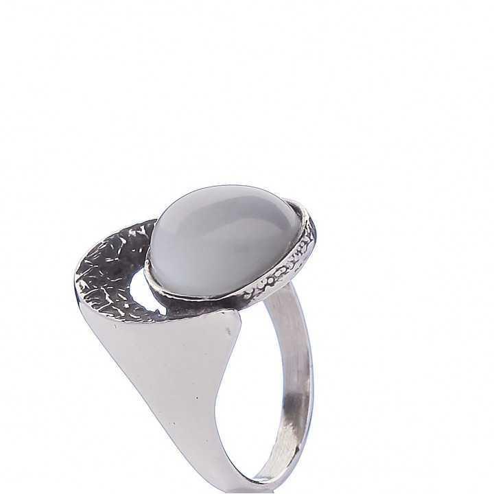 Sidabrinis žiedas su katės akies akmeniu - Sidabriniai žiedai - Goldinga