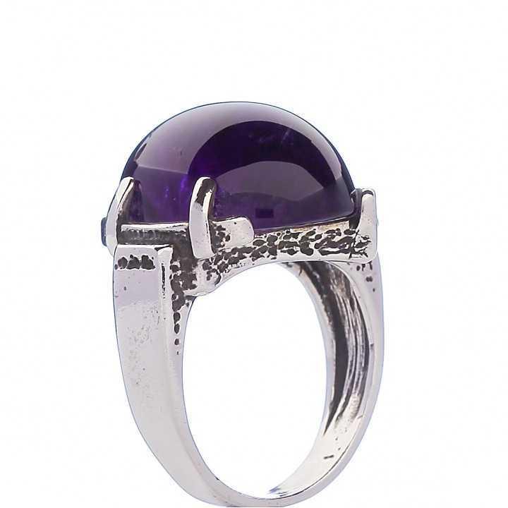 Sidabrinis žiedas su ametistu - Sidabriniai žiedai - Goldinga