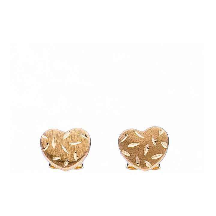 """Auksiniai graviruoti auskarai """"Širdelė"""" - Auksiniai auskarai - Goldinga"""