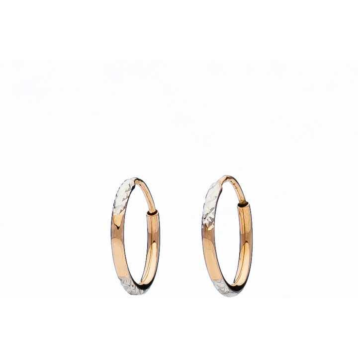 Auksiniai graviruoti auskarai Rinkutės 13mm - Auksiniai auskarai - Goldinga